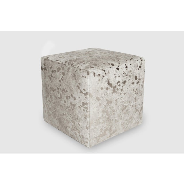 Modern Silver & White Cube Ottoman For Sale - Image 3 of 3