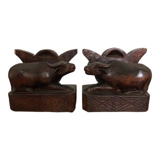Vintage Teak Bull Bookends - a Pair For Sale