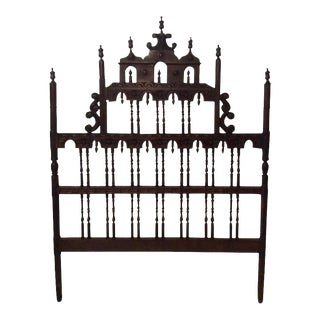 Vintage Ornate Chinoiserie Spanish Spindle Wood Full Queen Headboard