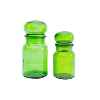 Green Glass Apothecary Jars | Made in Belgium | Vintage For Sale