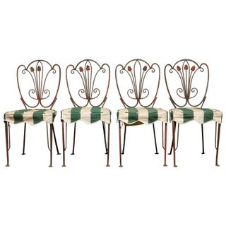 French Iron Bistro Dining Chairs - Set of 4