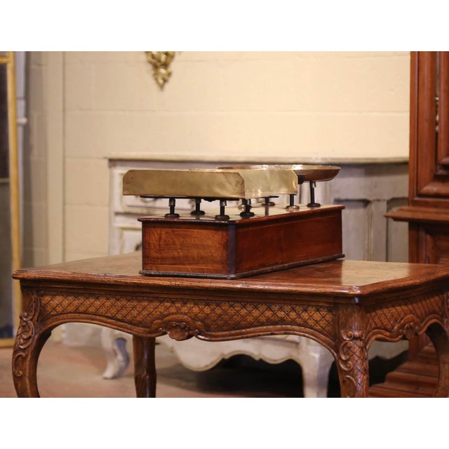 Metal 19th Century French Napoleon III Walnut and Brass Scale With Set of Weights For Sale - Image 7 of 12