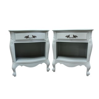 French Country 'Serenity Blue' Chalk Painted Nightstands - A Pair
