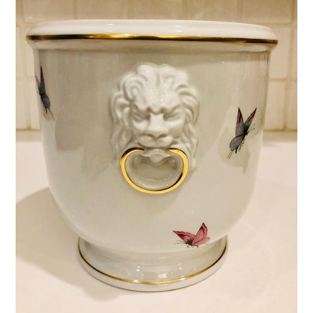 Ceramic 1930s Limoges Butterflies and Lion's Head Cachepot For Sale - Image 7 of 13