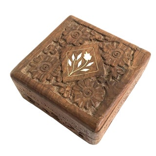 Hand Carved Wooden Box - India For Sale