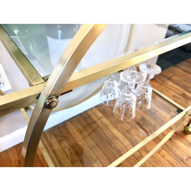 Gold Hollywood Regency Style Brass Bar Cart With Beveled Glass Shelves For Sale - Image 8 of 11