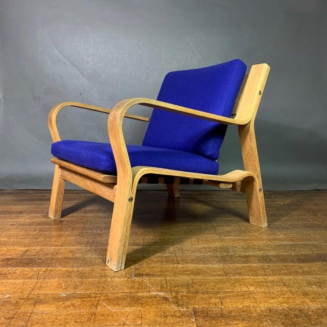 Purple Hans J. Wegner Ge671 Oak & Flag Halyard Lounge Chair, Getama For Sale - Image 8 of 13