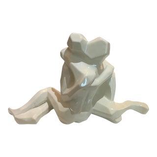 "Jaru of California ""Lovers Embrace"" Figure in White Glazed Ceramic For Sale"