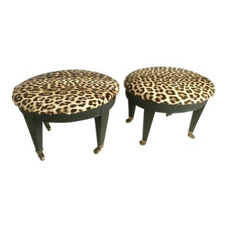 1950s Vintage Leopard Stools - A Pair For Sale
