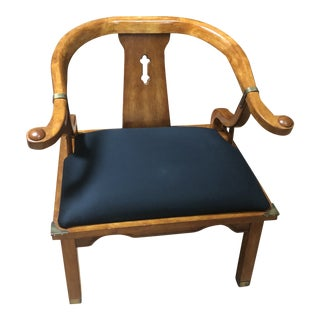 Vintage Ming Style Century Chin Hua Horseshoe Lounge Chair For Sale