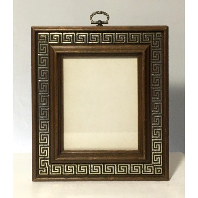 Vintage Brass Ring Wood Picture Frame with Greek Key Border For Sale - Image 9 of 9