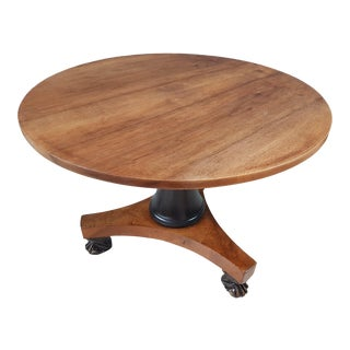 French Antique Regency Tilt Top Round Oak Breakfast Table For Sale