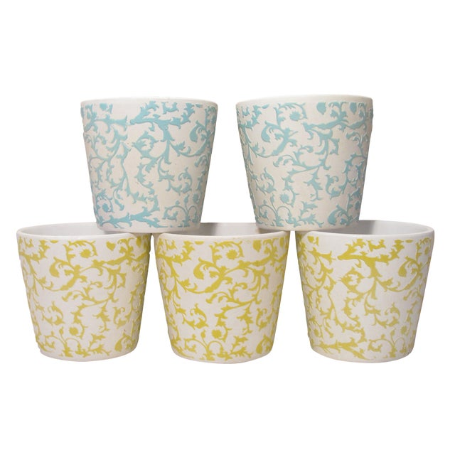 Blue, Yellow, White Bisque Planters - Set of 5 For Sale