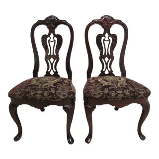 Thomasville Solid Mahogany Chippendale Dining Room Chairs - a Pair