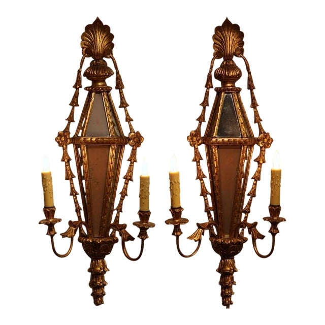 19th Century French Louis XVI Gilt & Mirrored Two-Light Carved Sconces - A Pair For Sale