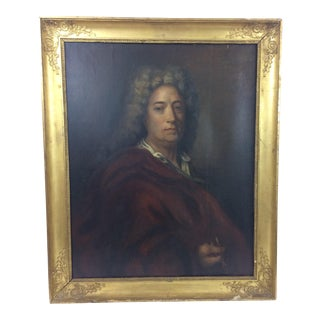 18th Century Portrait of Nobleman with Sunflower Frame For Sale