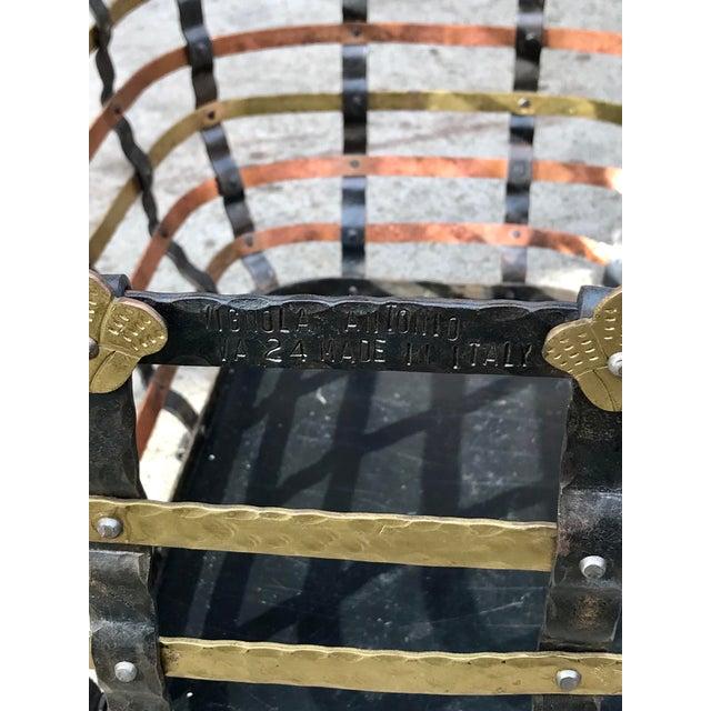 Metal Vintage Mid Century Antonio Vignola Italy Storage / Fire Wood Basket For Sale - Image 7 of 13