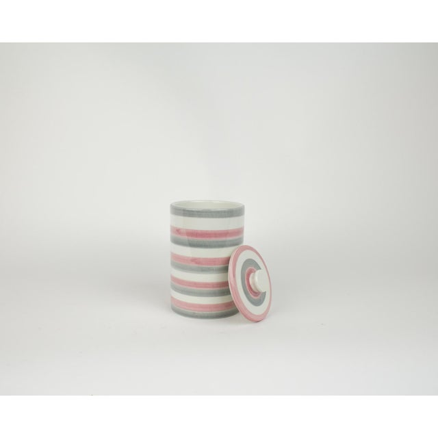 Italian Ceramic Lidded Grey and Pink Stripped Containers For Sale In New York - Image 6 of 11