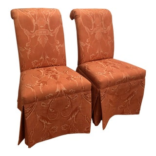 1990s Accent Chairs Brunschwig & Fils Upholstery Fabric for Sherrill Furniture- a Pair For Sale