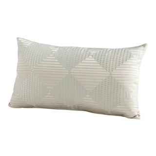 Cyan Designs Contemporary Embroidered Harlequin Pale Green Shine Lumbar Pillow For Sale
