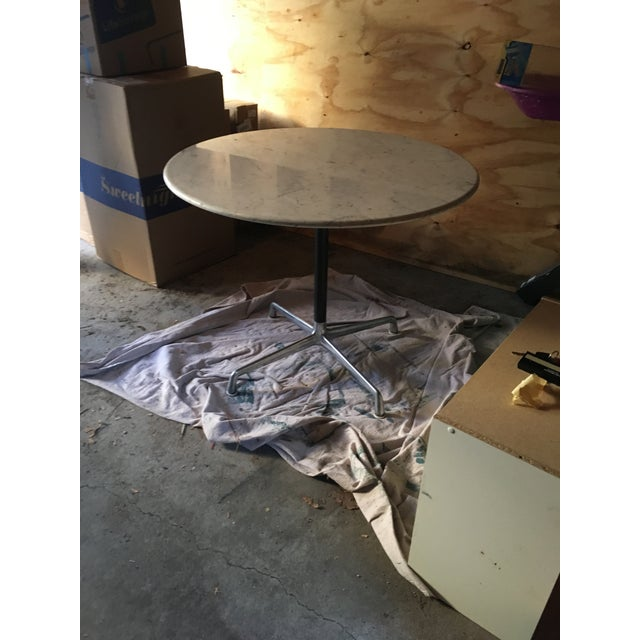 1970s Herman Miller Eames Marble Top Aluminum Pedestal Table For Sale - Image 5 of 5