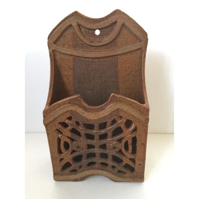 1980s Mid Century Modern Artisan Ceramic Wall Pocket For Sale - Image 5 of 7