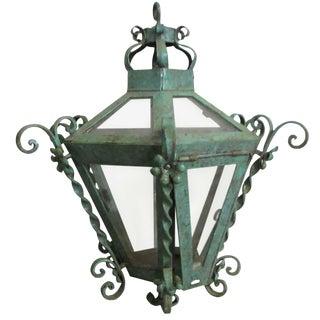 Wrought Iron Hanging Lantern For Sale