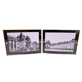 Pair of French Architectural Photograph Art in Lucite Block Frames For Sale