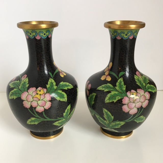 Black Cloisonne Vases With Pink Flowers A Pair Chairish