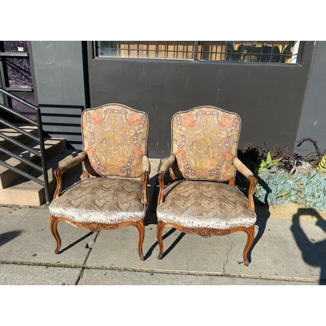 19th Century French Walnut Petite Point Neelde Point Arm Chairs- A Pair For Sale - Image 12 of 12
