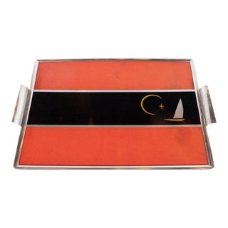Art Deco Machine Age Polished Aluminum and Inlaid Bakelite Bar Tray