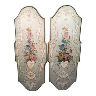 1990s Vintage Italian Painted Panels- A Pair For Sale