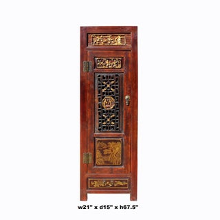 Chinese Fujian Brown Golden Graphic Slim Armoire Storage Cabinet Preview