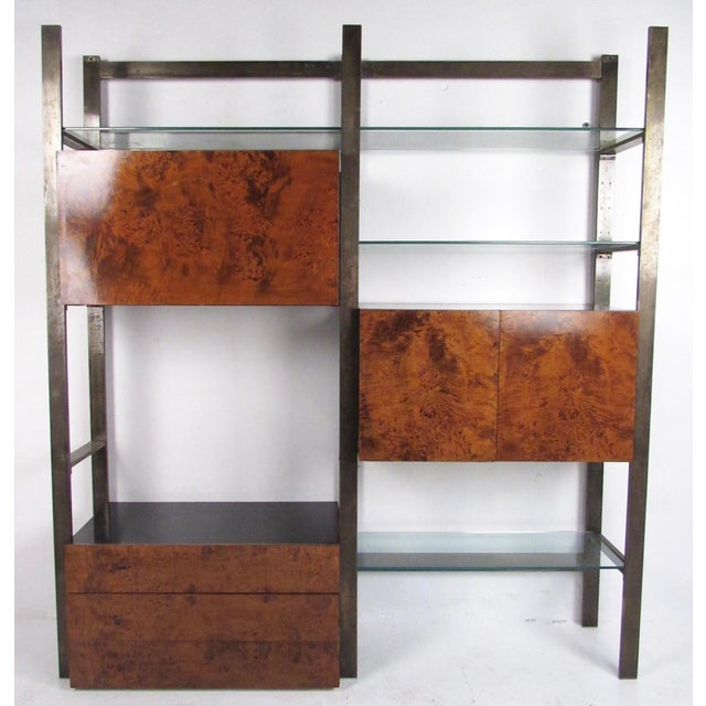 Mid-Century Modern John Stuart Modular Burl Front Wall Unit For Sale - Image 3 of 13