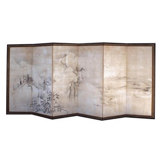 Chic Meiji Japanese Screen For Sale