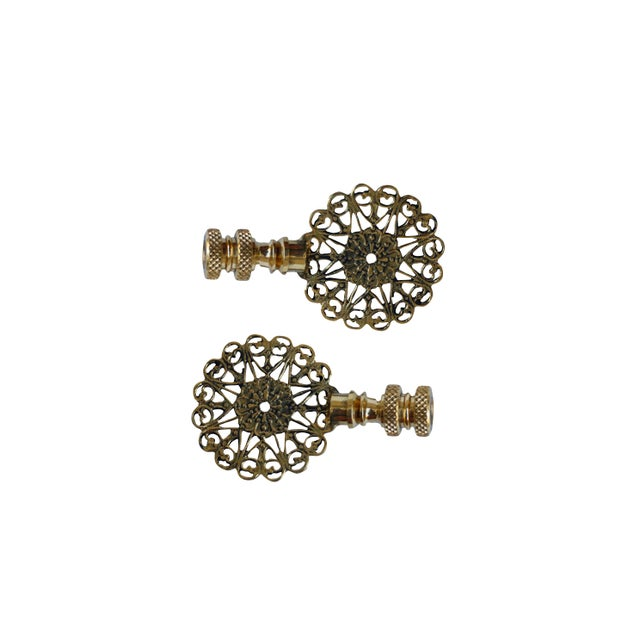 Hollywood Regency Lacy Brass Lamp Finials - a Pair For Sale - Image 3 of 4