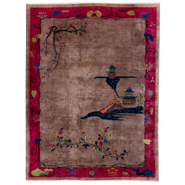 Vintage Purple Chinese Art Deco Wool Rug 9 Ft X 11 Ft 6 In. For Sale - Image 13 of 13