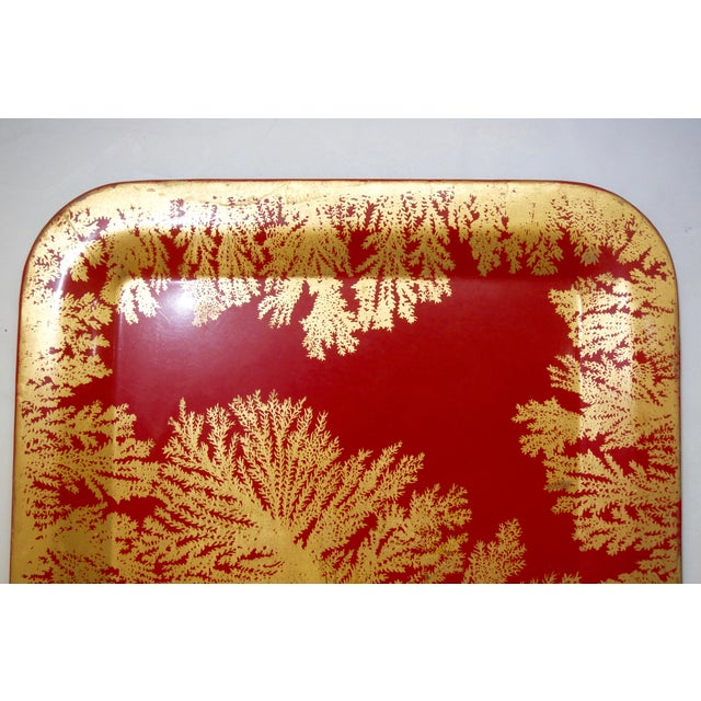 Fornasetti Fornasetti Red and Gold Serving Tray For Sale - Image 4 of 7