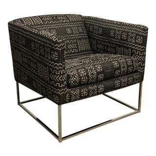Mid-Century Modern Chair With Mud Cloth Style Fabric
