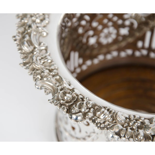 Traditional Silver Plate High Wine Coaster For Sale - Image 3 of 6