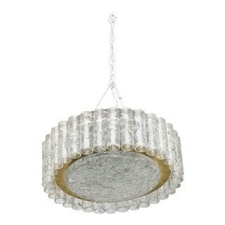 "Pair of German Modern Handblown Glass,""Doria"" Flush Mount/ Hanging Chandeliers"