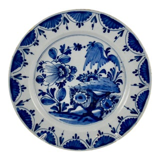18th C. Dutch Delft Chinoiserie-Style Faïence Charger For Sale