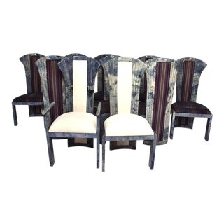 Set of 10 Goatskin Parchment Dining Chairs For Sale
