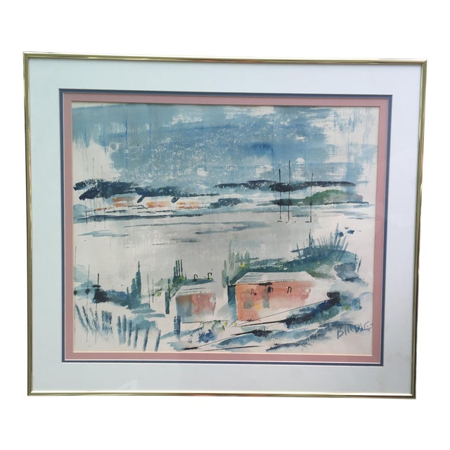 Mid Century Modern Alfred Birdsey Abstract Modernist Ocean Seascape Watercolor Painting Signed - Image 1 of 11