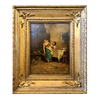 19th Century Oil on Canvas of a Tavern Scene in a Fine Gilt Frame For Sale