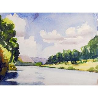 Plein Air River Landscape Watercolor Painting For Sale