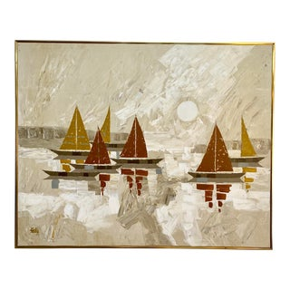 Mid-Century Modern Cubist Style Abstract Geometric Boat Sunset Oil Painting For Sale