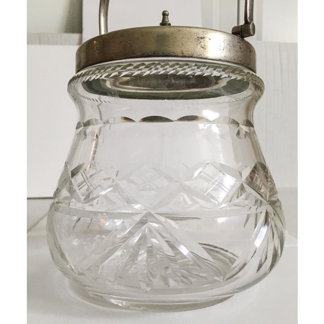 1930s Slack and Barlow English Cut-Glass and Silver Biscuit Jar For Sale In Richmond - Image 6 of 11