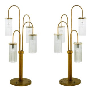 Mid-Century Modern Brass Waterfall Table Lamps by Lightolier, 1970s - A Pair