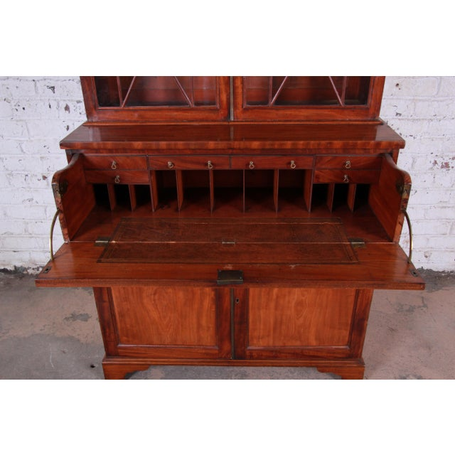 English George III Style Mahogany and Cherry Drop Front Secretary Desk With Bookcase, Circa 1870 For Sale In South Bend - Image 6 of 13